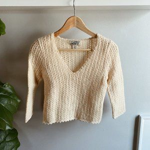Cropped Lucky Brand Hand-Knit Cream Sweater